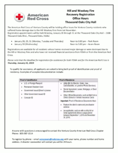 American Red Cross Hill and Woolsey Fire Recovery Registration