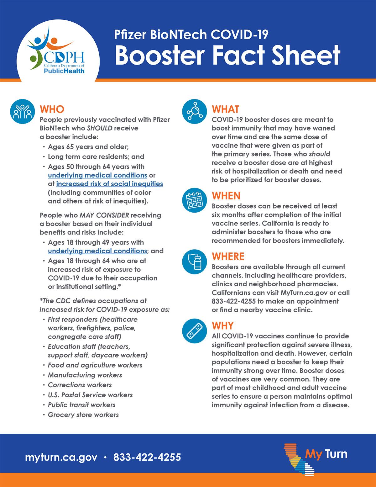 Pfizer BioNTech COVID 19 Booster Fact Sheet